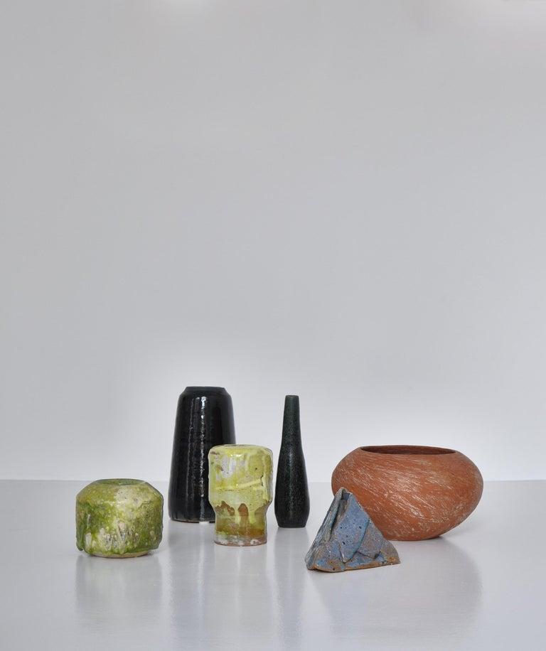 Unique Set of Green Stoneware Vases by Ole Bjørn Krüger, 1960s Danish Modern For Sale 9