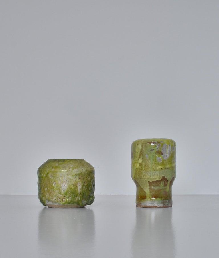 Scandinavian Modern Unique Set of Green Stoneware Vases by Ole Bjørn Krüger, 1960s Danish Modern For Sale