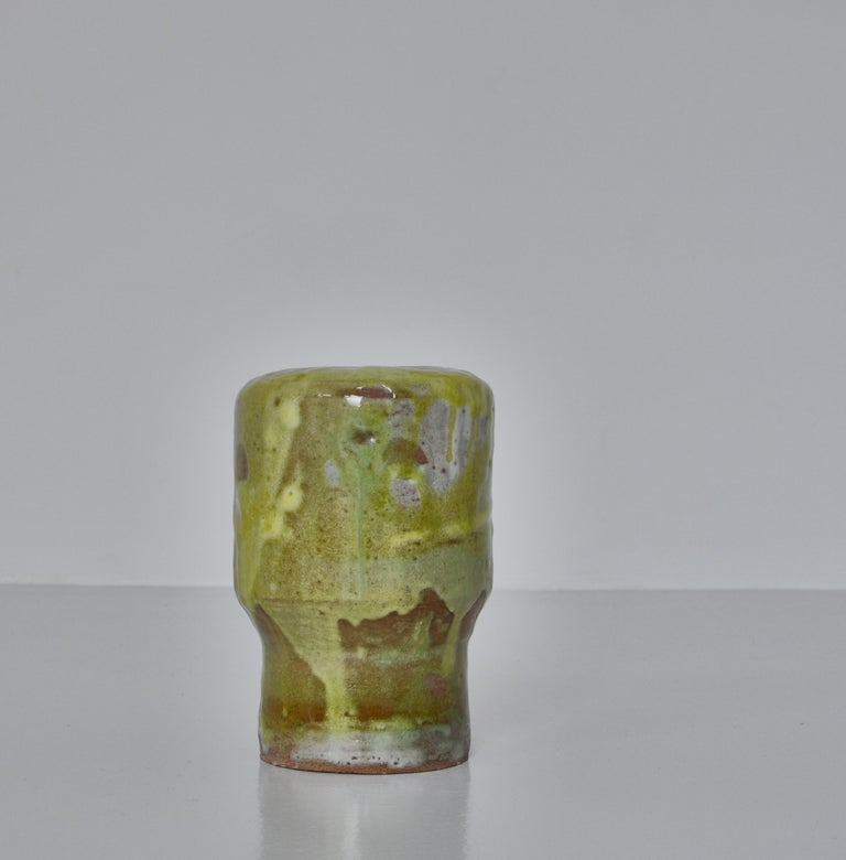 Unique Set of Green Stoneware Vases by Ole Bjørn Krüger, 1960s Danish Modern For Sale 3