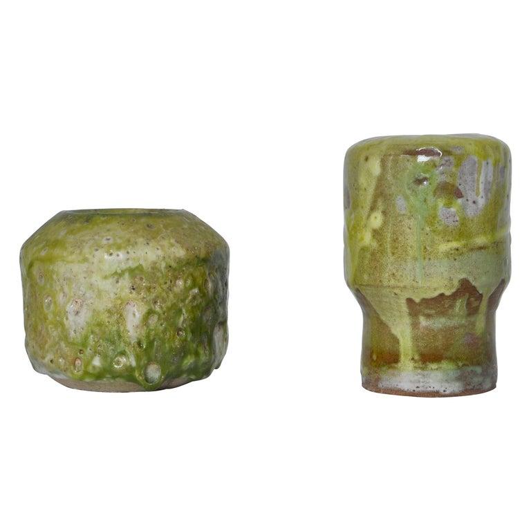 Unique Set of Green Stoneware Vases by Ole Bjørn Krüger, 1960s Danish Modern For Sale