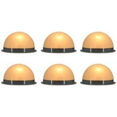 Unique Set of Six Big Bauhaus Chrome Ceiling Lamps / Flush Mounts, 1940s