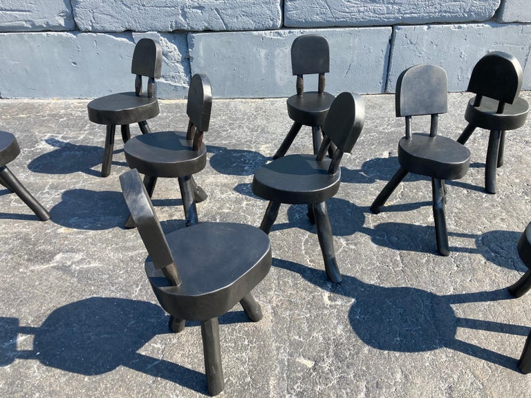 Unique Set of Ten Dining Chairs, Tree, Stump, Black For Sale 3