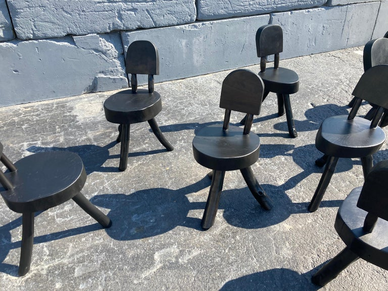 Unique Set of Ten Dining Chairs, Tree, Stump, Black For Sale 5