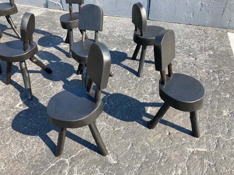 Unique Set of Ten Dining Chairs, Tree, Stump, Black For Sale 6