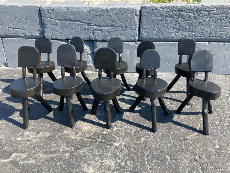 Unique Set of Ten Dining Chairs, Tree, Stump, Black For Sale 8