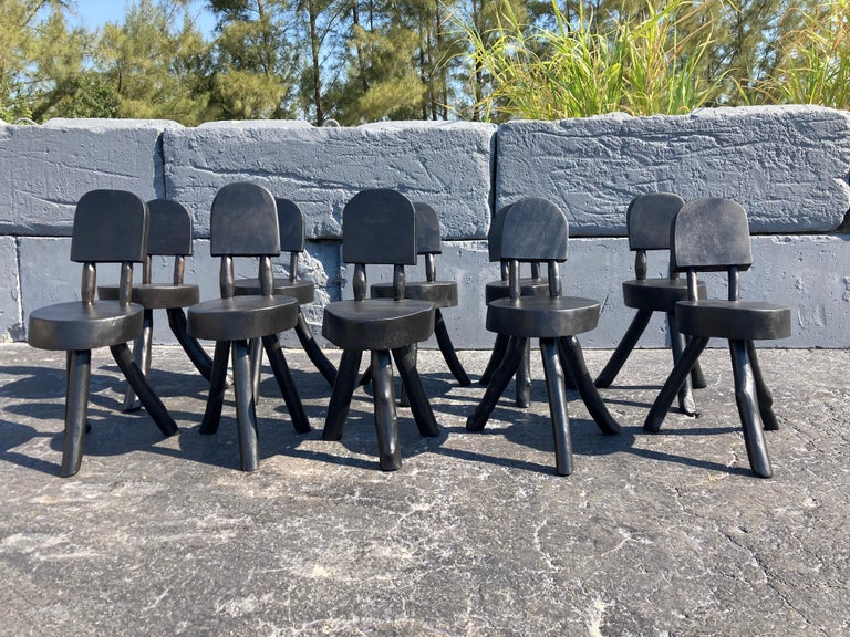 Unique Set of Ten Dining Chairs, Tree, Stump, Black For Sale 9