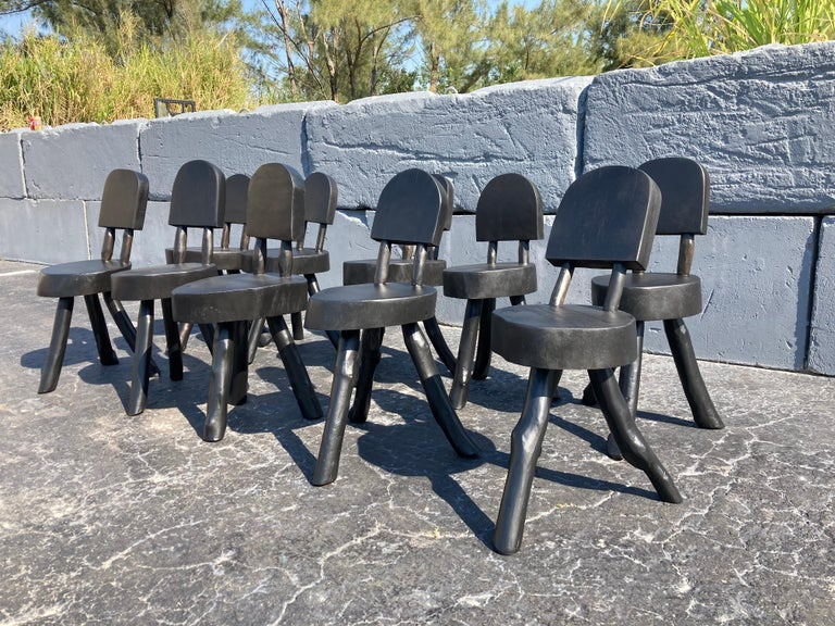 Unique Set of Ten Dining Chairs, Tree, Stump, Black For Sale 10