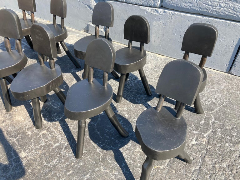Unique Set of Ten Dining Chairs, Tree, Stump, Black For Sale 11
