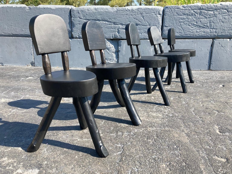 Unique Set of Ten Dining Chairs, Tree, Stump, Black For Sale 12