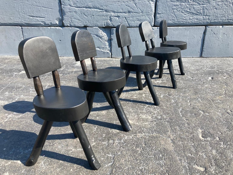 Unique Set of Ten Dining Chairs, Tree, Stump, Black For Sale 13
