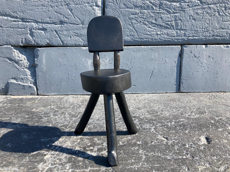 Mid-Century Modern Unique Set of Ten Dining Chairs, Tree, Stump, Black For Sale