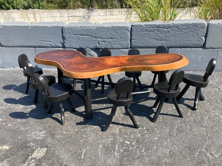 American Unique Set of Ten Dining Chairs, Tree, Stump, Black For Sale