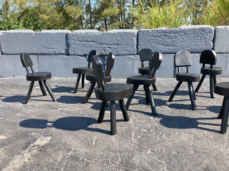 Unique Set of Ten Dining Chairs, Tree, Stump, Black In Good Condition For Sale In Opa Locka, FL