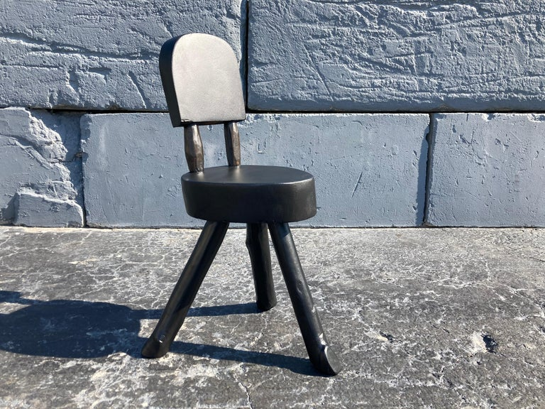 Mid-20th Century Unique Set of Ten Dining Chairs, Tree, Stump, Black For Sale