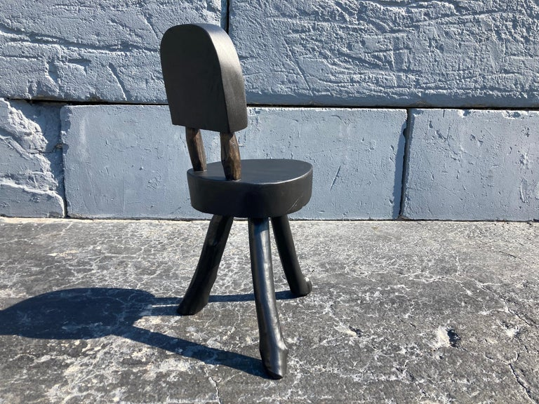 Wood Unique Set of Ten Dining Chairs, Tree, Stump, Black For Sale