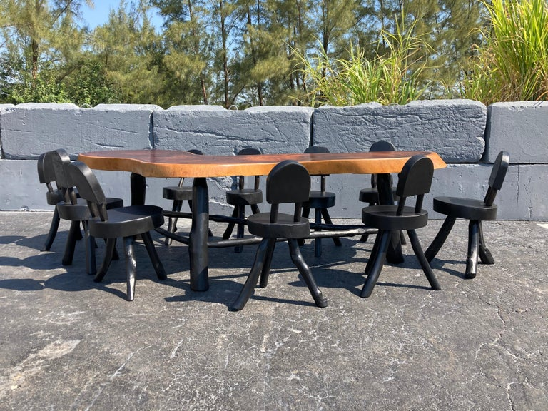 Unique Set of Ten Dining Chairs, Tree, Stump, Black For Sale 2