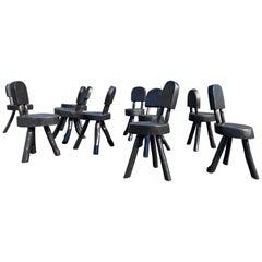 Unique Set of Ten Dining Chairs, Tree, Stump, Black