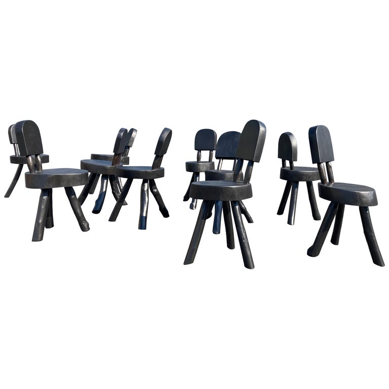 Unique Set of Ten Dining Chairs, Tree, Stump, Black For Sale