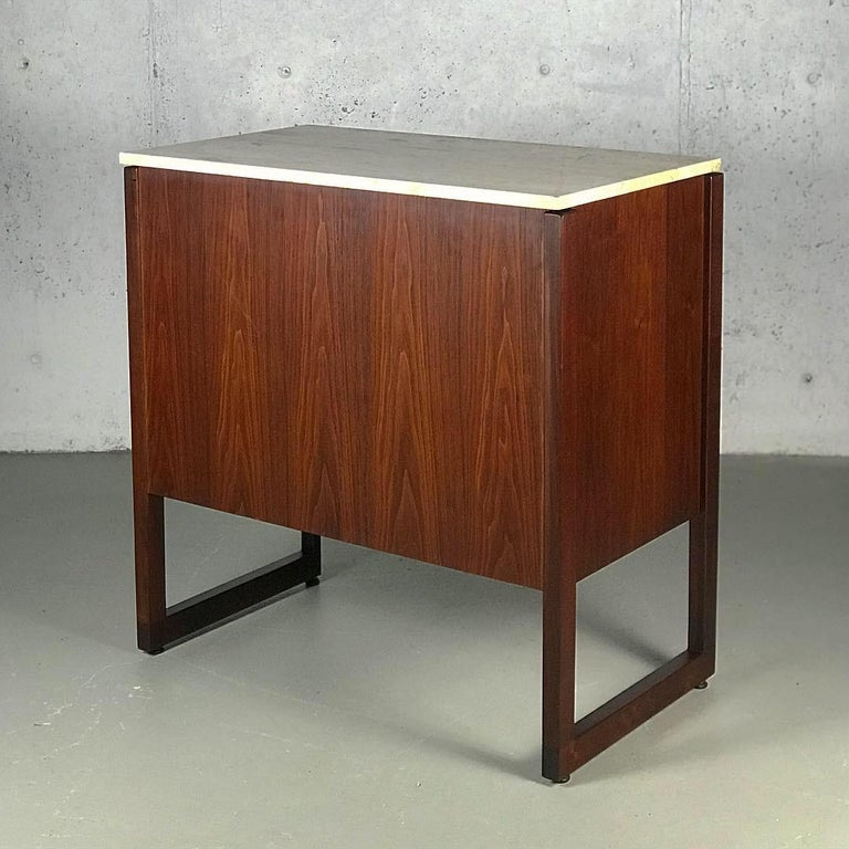 Striking Sideboard by Jens Risom in Rosewood Walnut and Travertine Marble For Sale 7