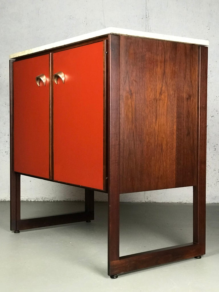 Striking Sideboard by Jens Risom in Rosewood Walnut and Travertine Marble For Sale 8