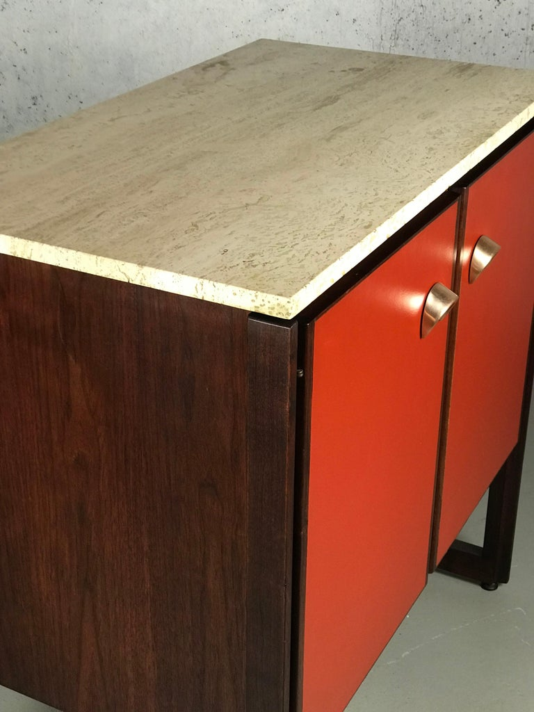 Mid-Century Modern Striking Sideboard by Jens Risom in Rosewood Walnut and Travertine Marble For Sale