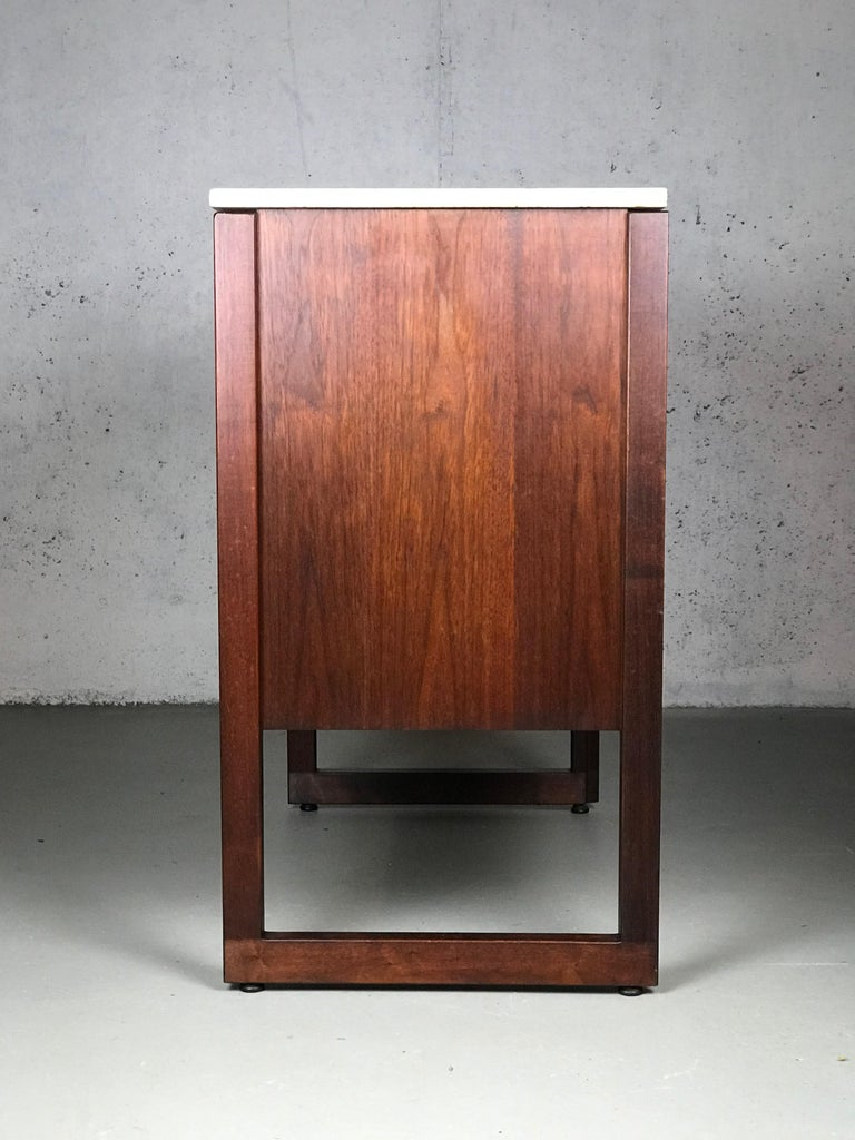 American Striking Sideboard by Jens Risom in Rosewood Walnut and Travertine Marble For Sale
