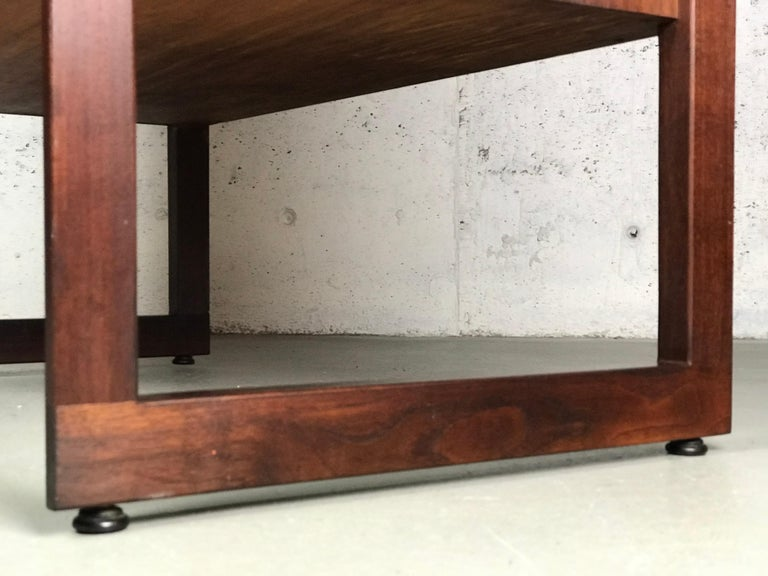 Striking Sideboard by Jens Risom in Rosewood Walnut and Travertine Marble For Sale 1