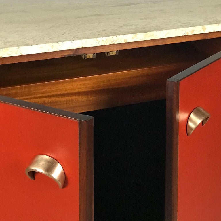 Striking Sideboard by Jens Risom in Rosewood Walnut and Travertine Marble For Sale 2