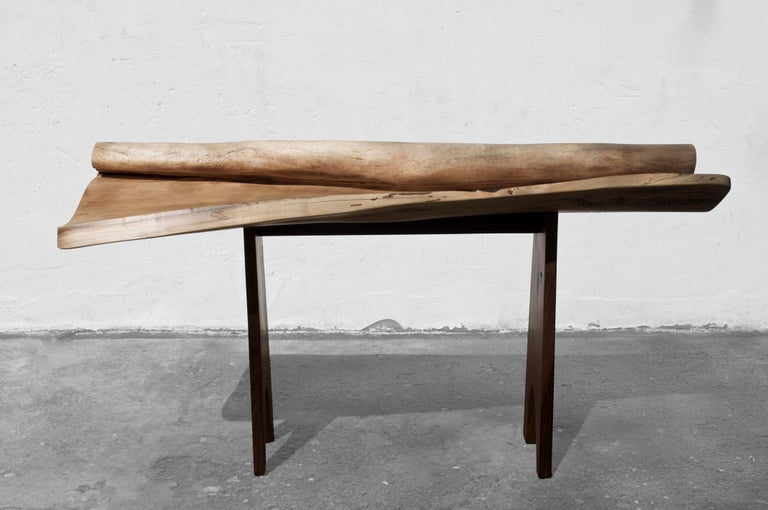 Unique signed console by Jörg Pietschmann Materials: Poplar, Europe walnut Measures: H 93 x W 174 x D 60 cm Polished oil finish   In Pietschmann's sculptures, trees that for centuries were part of a landscape and founded in primordial forces