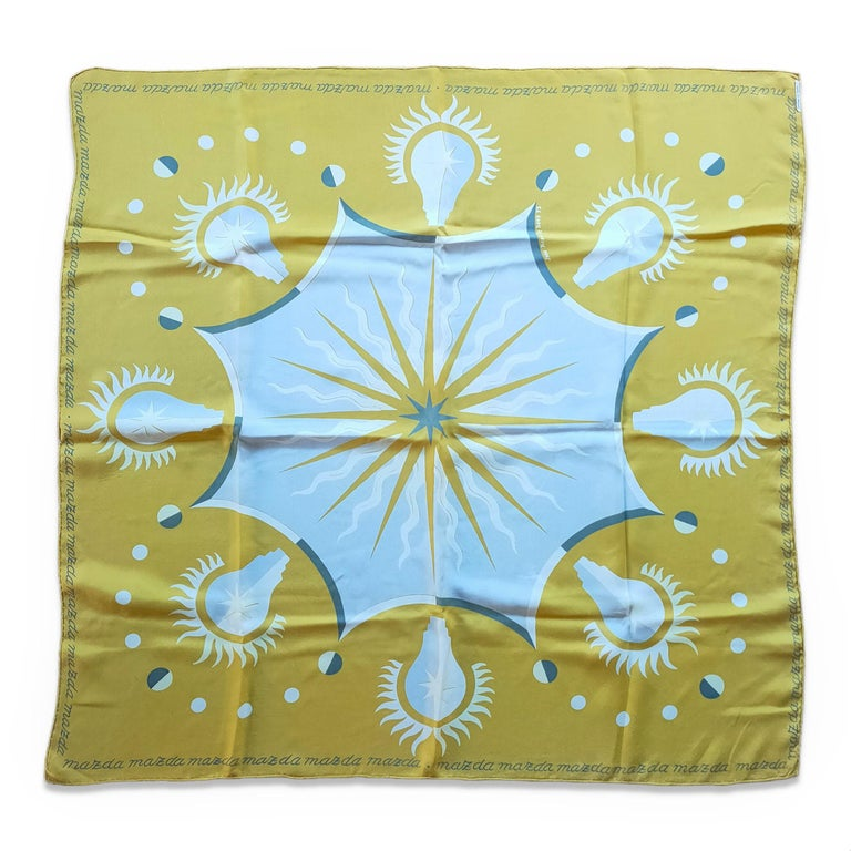 Vintage merchandising silk scarf for Mazda bulbs Jean Picart Le Doux, 1952 Mint condition but for minor 1/10 of an inch red stain would ideally be framed this item will ship from France price does not include possible customs related