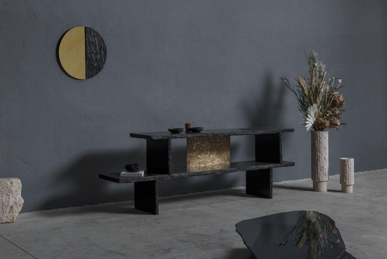 Unique Slate Sculpted Coffee Table by Frederic Saulou For Sale 4