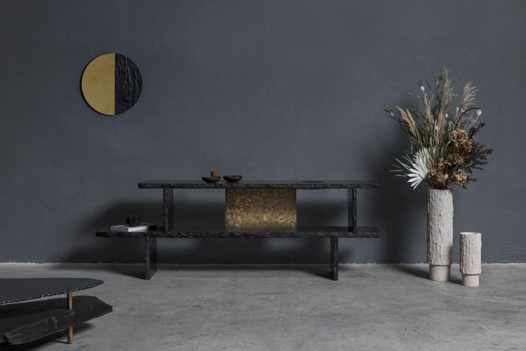 Unique Slate Sculpted Coffee Table by Frederic Saulou For Sale 6