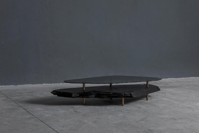 Unique Slate sculpted coffee table by Frederic Saulou Hardie  Coffee table Black Slate, grey smocked mirror L 195 x W 80 x H 34 cm Unique piece : 1 / 1  Signed and numbered.