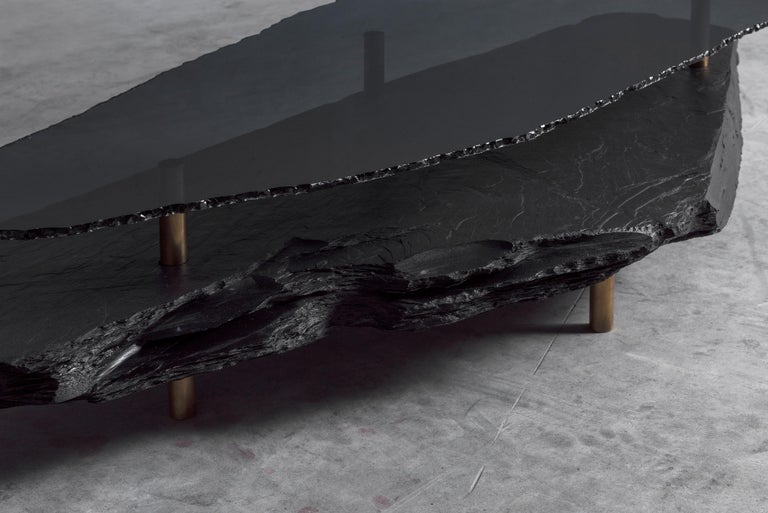 Modern Unique Slate Sculpted Coffee Table by Frederic Saulou For Sale