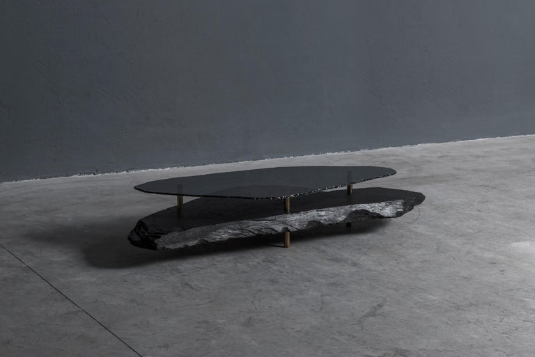 French Unique Slate Sculpted Coffee Table by Frederic Saulou For Sale