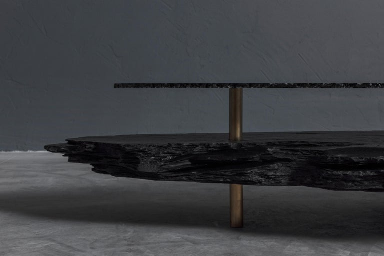 Unique Slate Sculpted Coffee Table by Frederic Saulou In New Condition For Sale In Geneve, CH