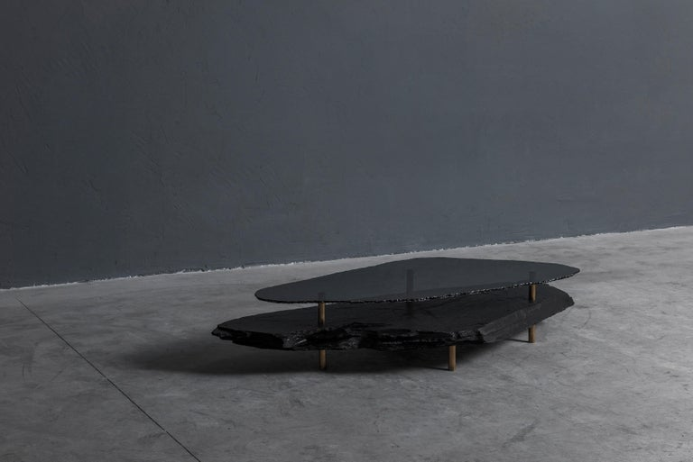 Contemporary Unique Slate Sculpted Coffee Table by Frederic Saulou For Sale