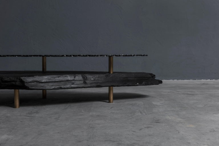 Unique Slate Sculpted Coffee Table by Frederic Saulou For Sale 1