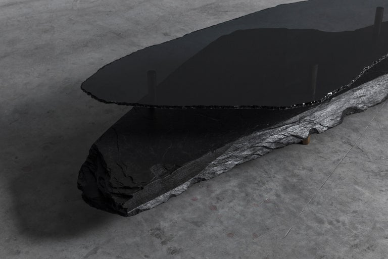 Unique Slate Sculpted Coffee Table by Frederic Saulou For Sale 2