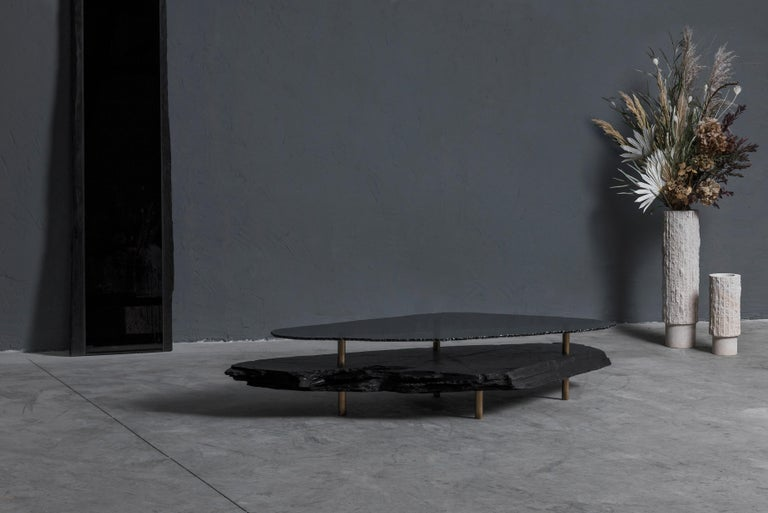 Unique Slate Sculpted Coffee Table by Frederic Saulou For Sale 3