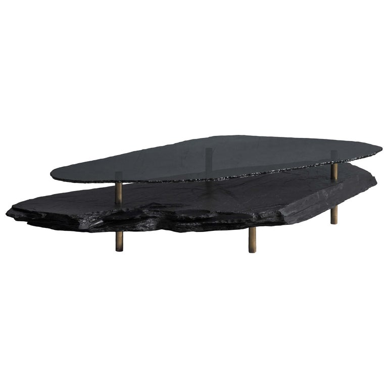 Unique Slate Sculpted Coffee Table by Frederic Saulou For Sale