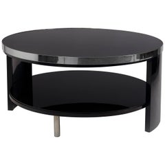 Unique Small Art Deco Black Coffee Table, Black Glass, Chrome Accessories