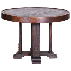 Unique Small Czech Oak Art Deco Round Table, Well preserved Condition, 1920s