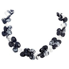 Elegant Unique Fascinating Snowflake Obsidian and Silver White Quartz Necklace