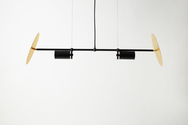 Unique sol chandelier by Saumil Suchak Dimensions: W 118 x H 117 cm  Materials: Powdercoated aluminium, brass plate  Hatsu is a design studio based in Mumbai that creates modern lighting that are unique and immediately recognisable. We started