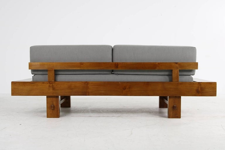 Unique Solid Balinese Teak Wood 1970s Daybed Sofa With New