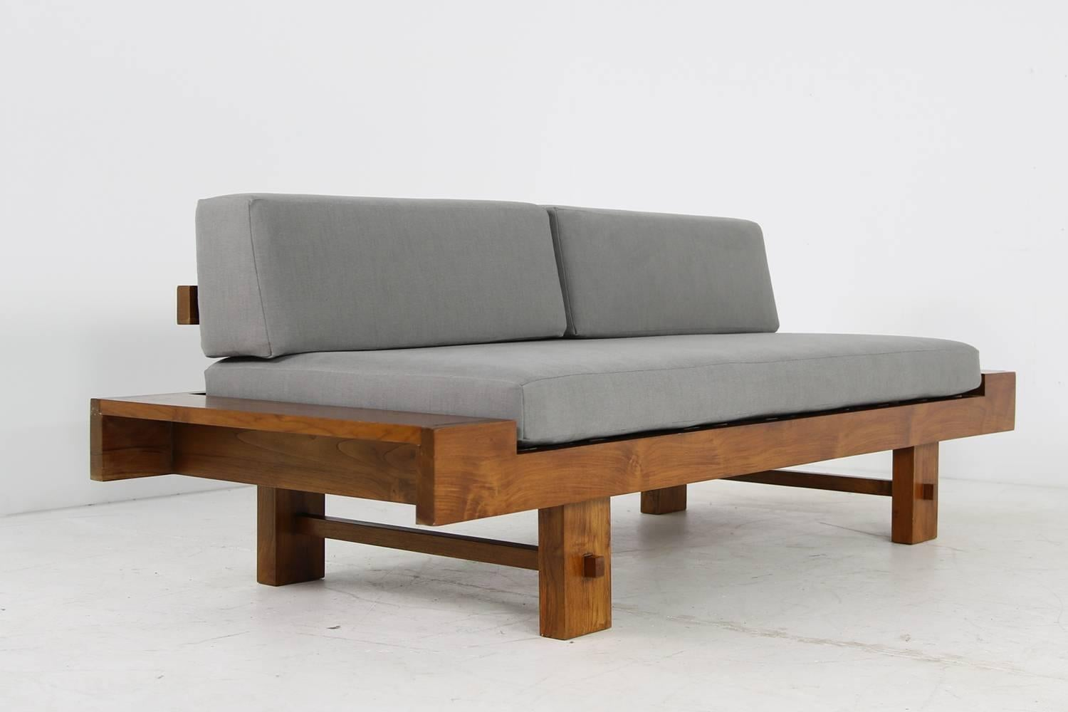 Unique Solid Balinese Teak Wood 1970s Daybed Sofa With New Grey Upholstery  For Sale At 1stdibs
