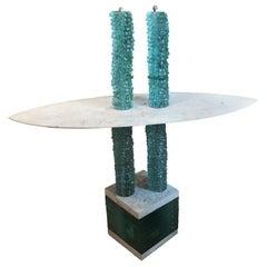 "Unique ""Solomon"" Console Table by Danny Lane in Glass & Marble, 1988"
