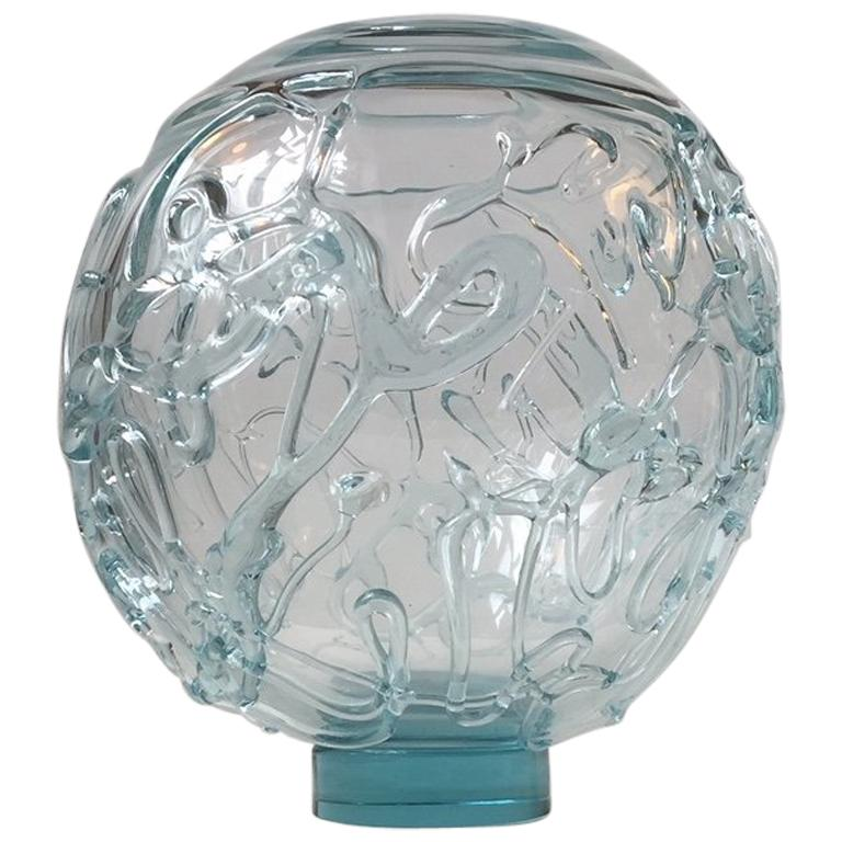 Unique Spherical and Abstract Glass Vase by Michael Bang for Holmegaard, Denmark