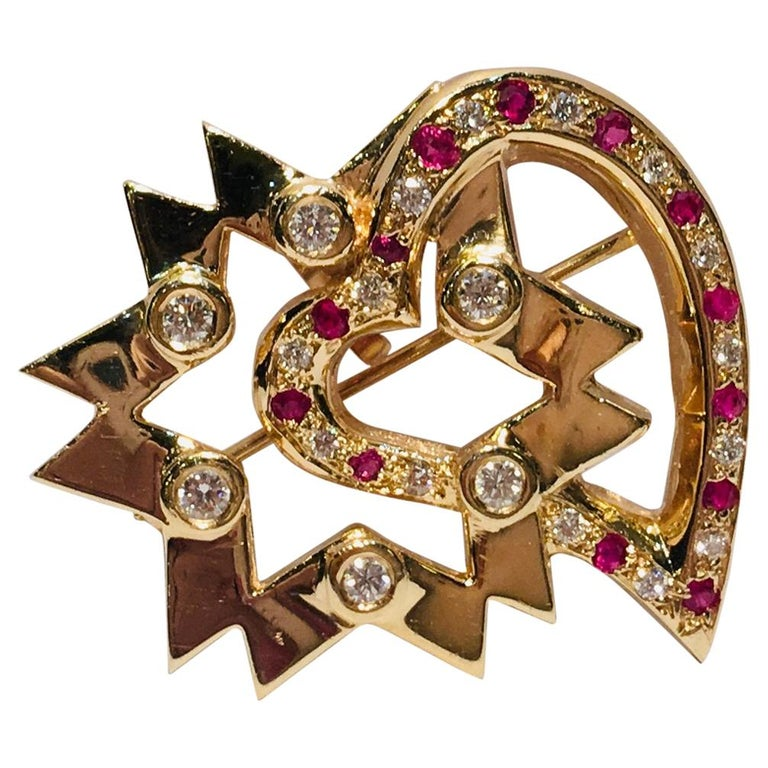 """Unique """"Star of My Heart"""" Diamond Ruby Yellow Gold Enhancer Pendant Brooch For Sale"""